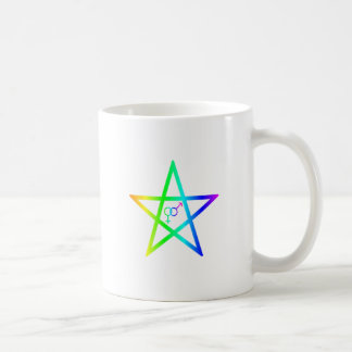 Upright Heterosexual Rainbow Pentagram Coffee Mugs