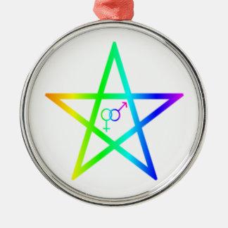 Upright Heterosexual Rainbow Pentagram Christmas Tree Ornaments