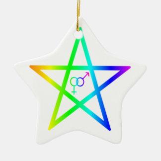 Upright Heterosexual Rainbow Pentagram Ornaments