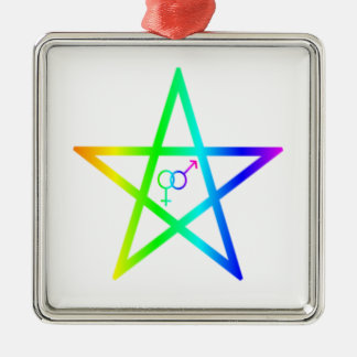 Upright Heterosexual Rainbow Pentagram Ornament