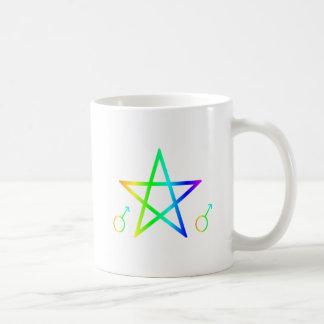 Upright male rainbow pentagram 2 coffee mug