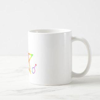 Upright Male Rainbow Pentagram Coffee Mugs