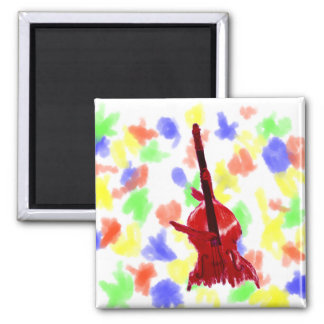 Upright orchestra bass image red version 2 inch square magnet