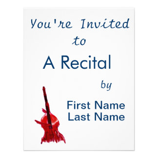 Upright orchestra bass image red version custom invitation