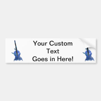 Upright orchestral acoustic double bass blue art bumper stickers