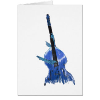 Upright orchestral acoustic double bass blue art card
