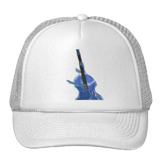Upright orchestral acoustic double bass blue art trucker hat