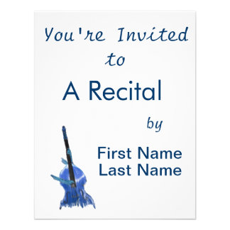 Upright orchestral acoustic double bass blue art custom invitations
