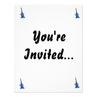 Upright orchestral acoustic double bass blue art personalized invitation