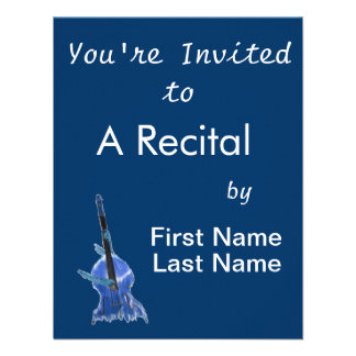 Upright orchestral acoustic double bass blue art custom invite