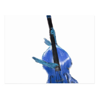 Upright orchestral acoustic double bass blue art postcard