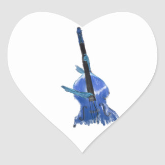 Upright orchestral acoustic double bass blue art heart sticker