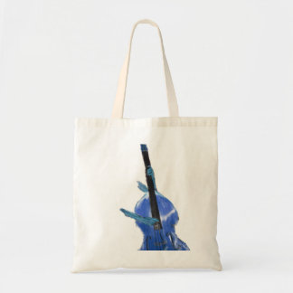 Upright orchestral acoustic double bass blue art tote bag