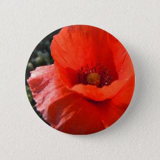 Upright Poppy Pinback Button