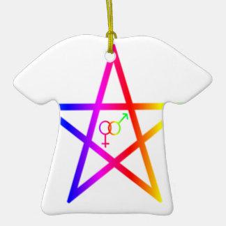 Upright Rainbow Heterosexual Pentagram #2 Christmas Tree Ornaments
