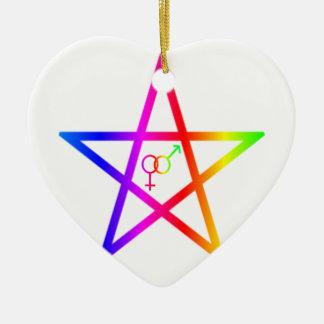 Upright Rainbow Heterosexual Pentagram #2 Christmas Ornaments