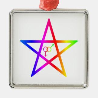 Upright Rainbow Heterosexual Pentagram #2 Christmas Tree Ornament