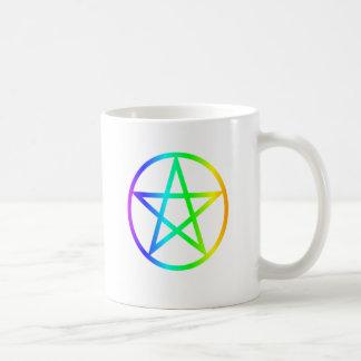 Upright Rainbow Pentagram Coffee Mug