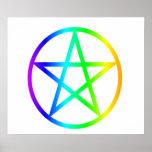 Upright Rainbow Pentagram Poster