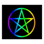 Upright Rainbow Pentagram Posters