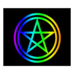 Upright Rainbow Pentagram Print