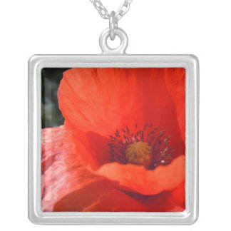 Upright Red Poppy Silver Plated Necklace