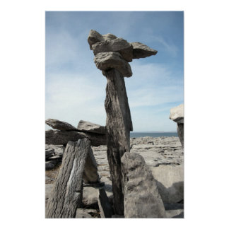 upright standing boulders in the rocky burren poster
