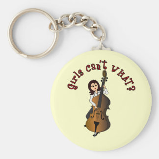 Upright String Double Bass Girl Basic Round Button Keychain
