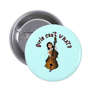 Upright String Double Bass Girl 2 Inch Round Button