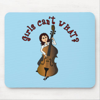 Upright String Double Bass Girl Mouse Pad