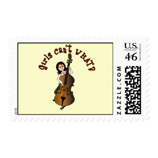 Upright String Double Bass Girl Stamps
