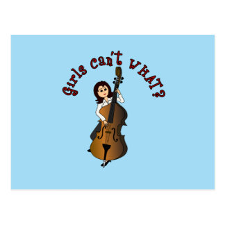Upright String Double Bass Girl Postcard