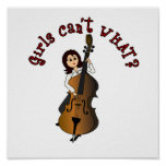 Upright String Double Bass Girl Poster