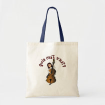 Upright String Double Bass Girl Tote Bags