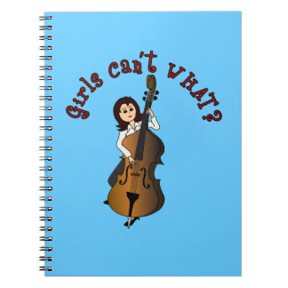 Upright String Double Bass Player Girl Notebook