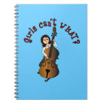 Upright String Double Bass Player Girl Notebooks