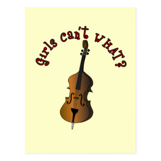 Upright String Double Bass Player Postcard