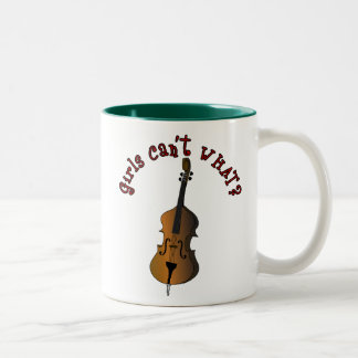 Upright String Double Bass Player Two-Tone Coffee Mug