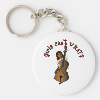 Upright String Double Bass Player Woman Basic Round Button Keychain