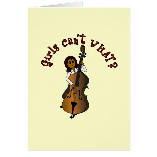 Upright String Double Bass Player Woman Greeting Cards