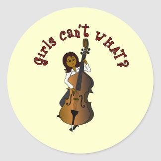 Upright String Double Bass Player Woman Classic Round Sticker