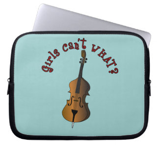 Upright String Double Bass Player Woman Laptop Sleeve