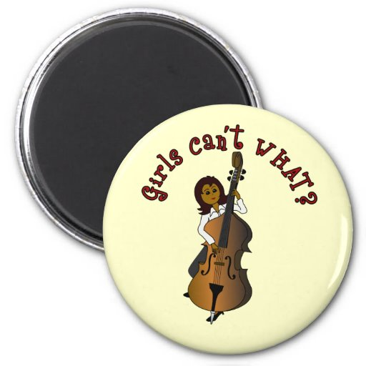 Upright String Double Bass Player Woman Fridge Magnet