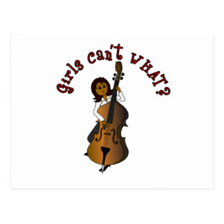 Upright String Double Bass Player Woman Postcard