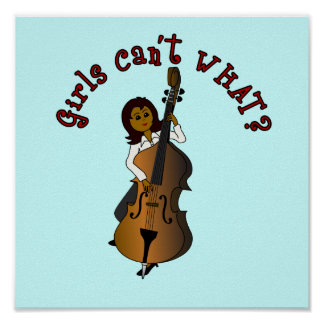 Upright String Double Bass Player Woman Poster
