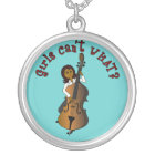 Upright String Double Bass Player Woman Silver Plated Necklace