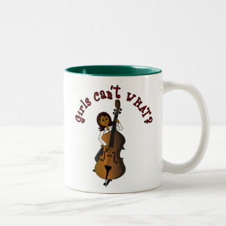 Upright String Double Bass Player Woman Two-Tone Coffee Mug