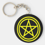 Upright Yellow Pentagram Key Chain