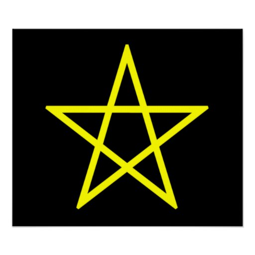 Upright Yellow Pentagram Poster
