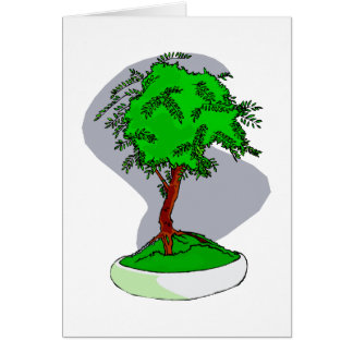 Upright Young Bonsai Graphic Image Design Card